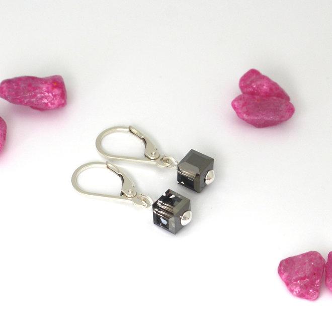 Oorbellen Swarovski kristal kubus zwart - sterling zilver - ARLIZI 1746 - Kyra
