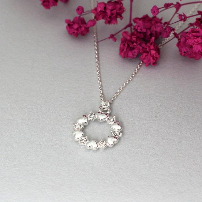 Halskette Herzen Kristall Anhänger - Sterling Silber - ARLIZI 1971 - June