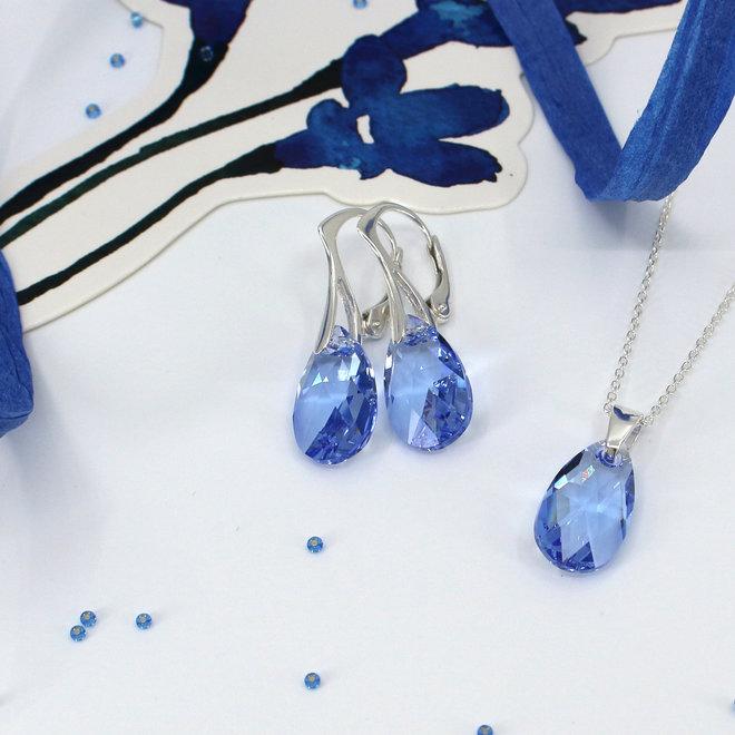 Oorbellen Swarovski kristal druppel blauw sterling zilver - ARLIZI 1994 - Romy