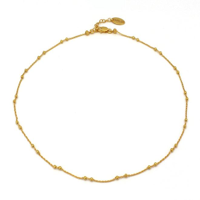 Halskette Gliederkette Kugeln 925 Silber vergoldet - 1978