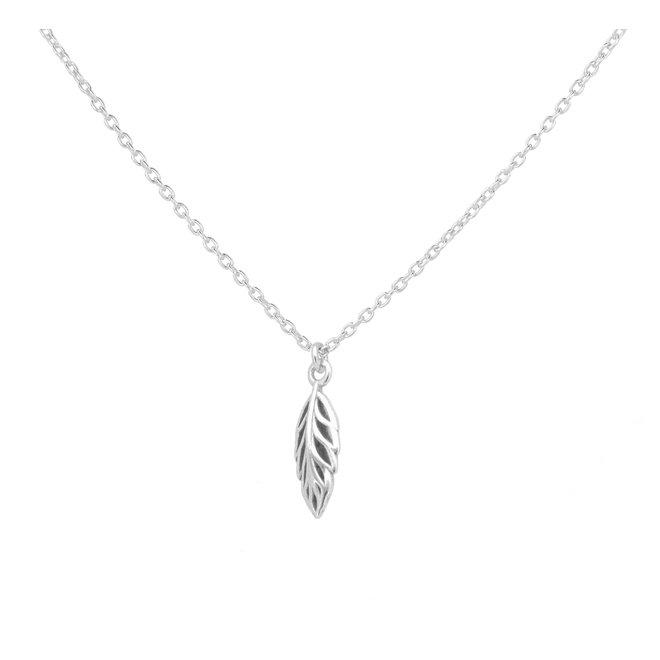 Halskette Blatt Anhänger Sterling Silber - 1982