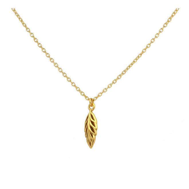 Halskette Blatt Anhänger - Sterling Silber vergoldet - ARLIZI 1984 - Ivy
