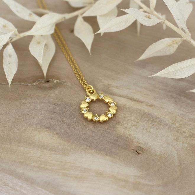 Halskette Herzen Kristall Anhänger - Sterling Silber vergoldet - ARLIZI 1973 - June