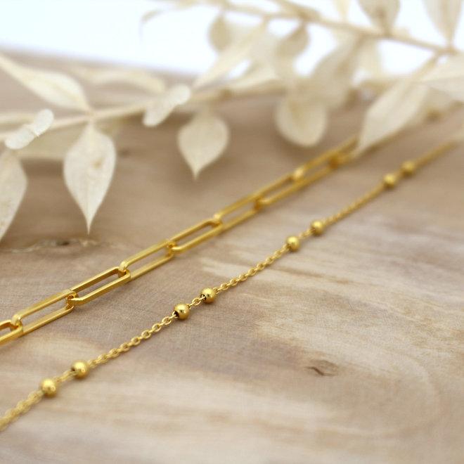 Halskette Gliederkette Kugeln - Sterling Silber vergoldet - ARLIZI 1978 - Eline