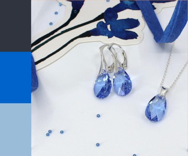 Sterling zilveren sieraden set met saffier blauw Swarovski kristal