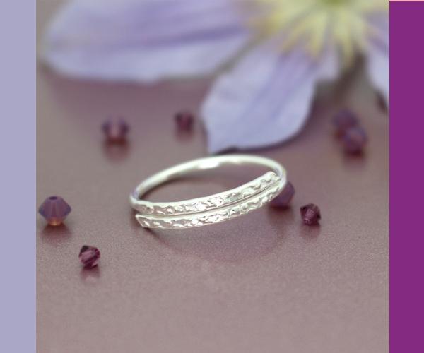 Sterling zilveren ring met waterdruppels