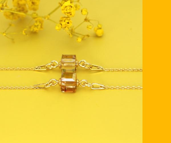 Armbanden met Swarovski kristal kubus