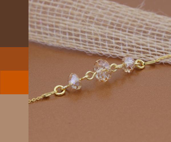 Vergulde sterling zilveren armband met goudkleurig Swarovski kristal brioletten