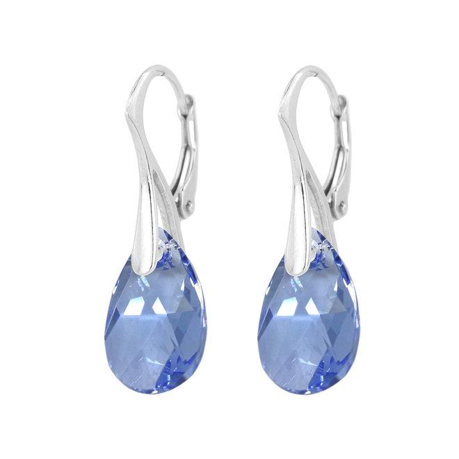 Oorbellen blauw Swarovski kristal druppel 925 zilver - 1994