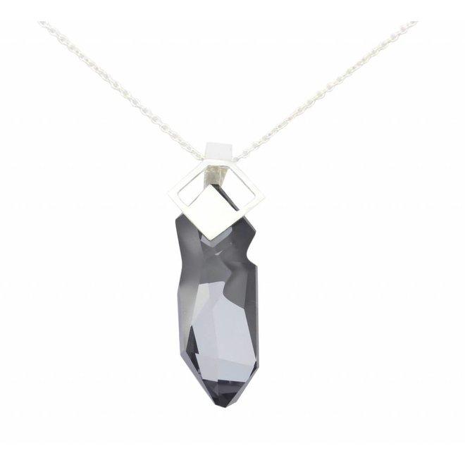 Ketting grijze Swarovski kristal hanger - sterling zilver - ARLIZI 0869 - Iris