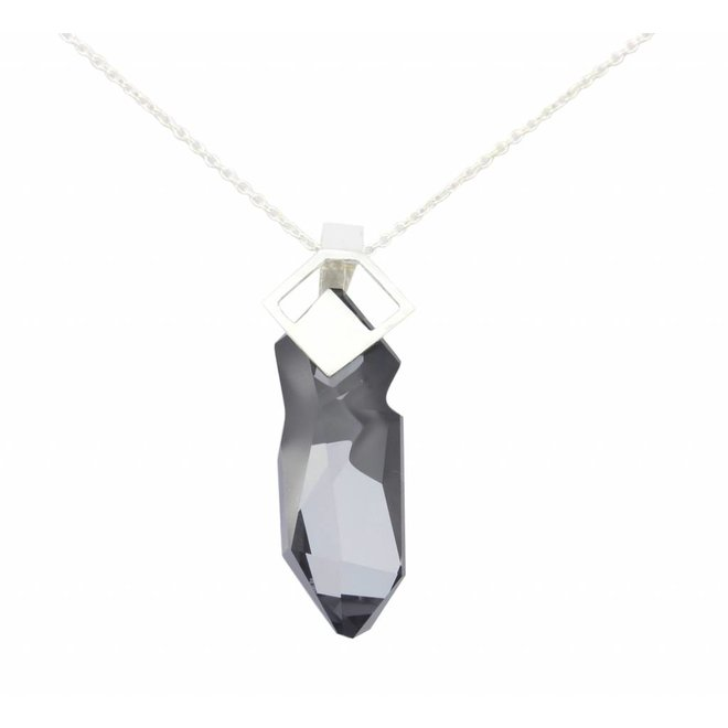 Necklace crystal pendant - sterling silver - 0869