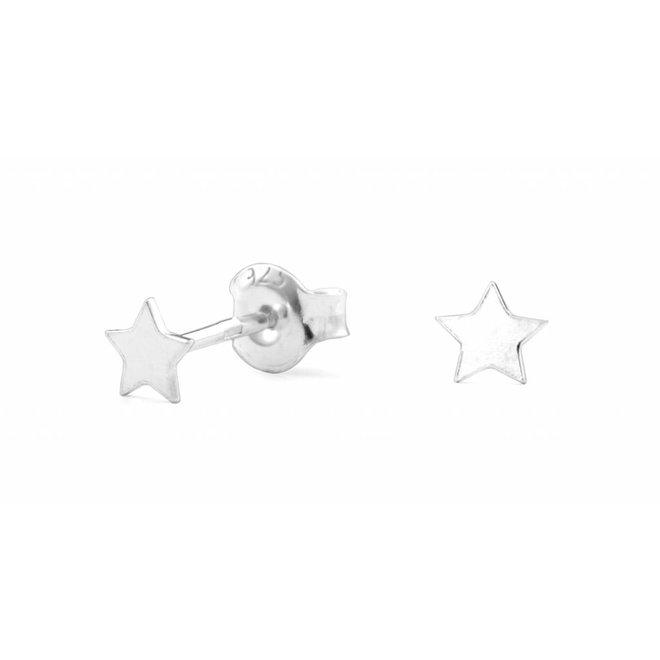 Oorbellen ster oorstekers - sterling zilver - 0796