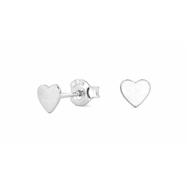 Earrings heart - silver rhodium plated - 0797