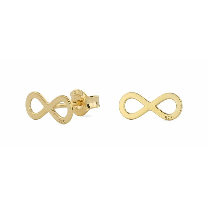 Earrings infinity ear studs - gold plated silver - 0862
