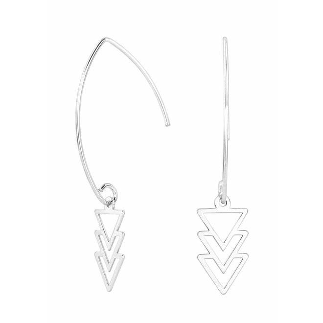 Ohrringe Dreieck Anhänger Sterling Silber - 0867