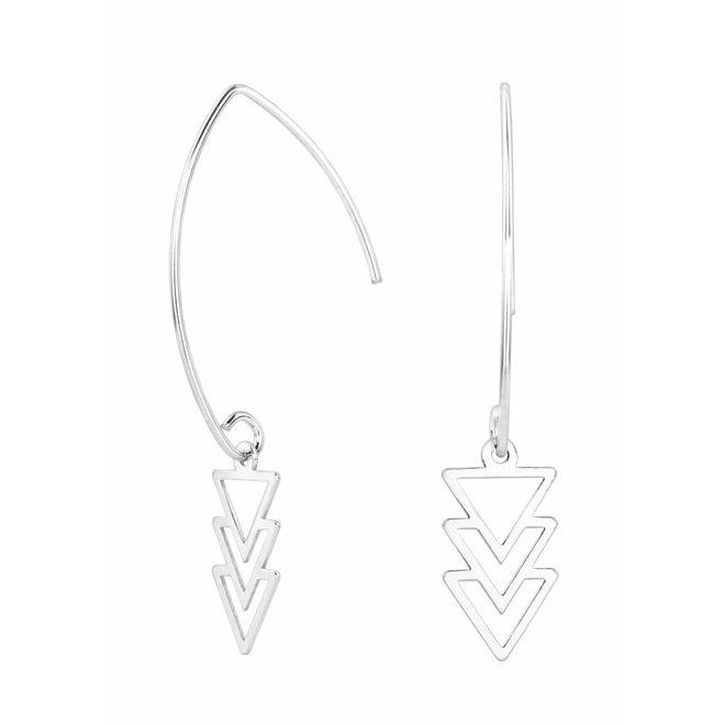 Oorbellen driehoek hanger sterling zilver - 0867