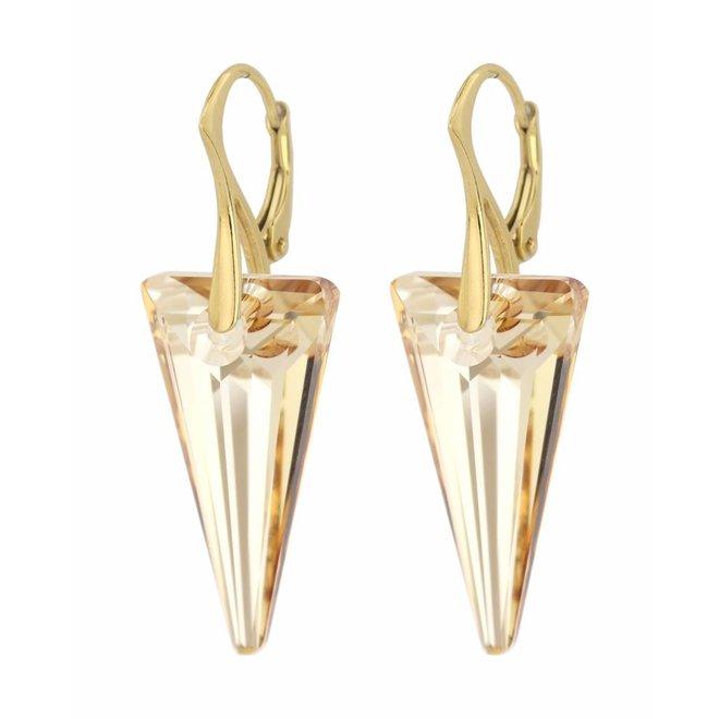 Oorbellen kristal spike - verguld zilver - 0907