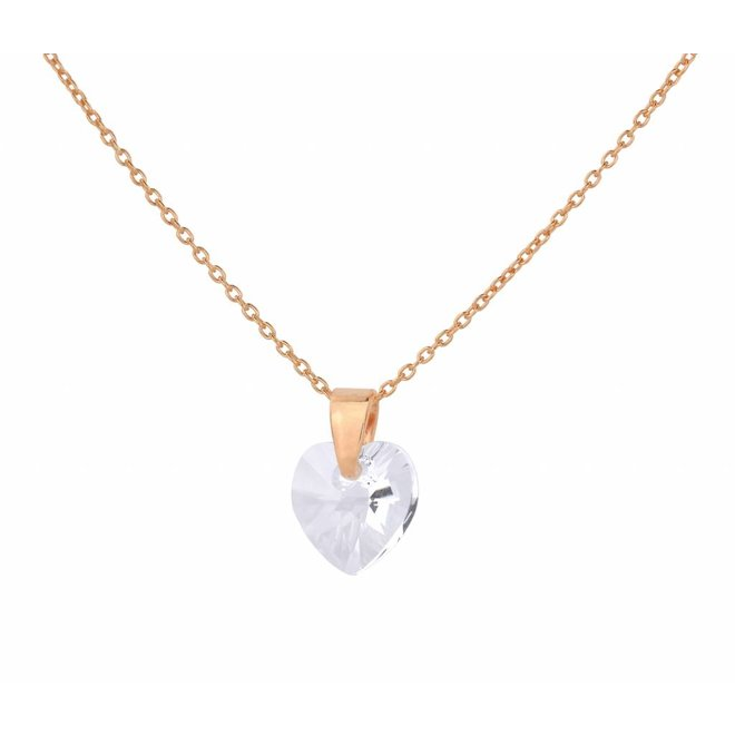 Necklace crystal heart - silver rose gold plated - 0913