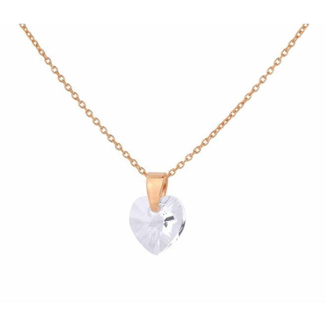 Necklace transparent Swarovski crystal heart - sterling silver rose gold plated - ARLIZI 0913 - Eva