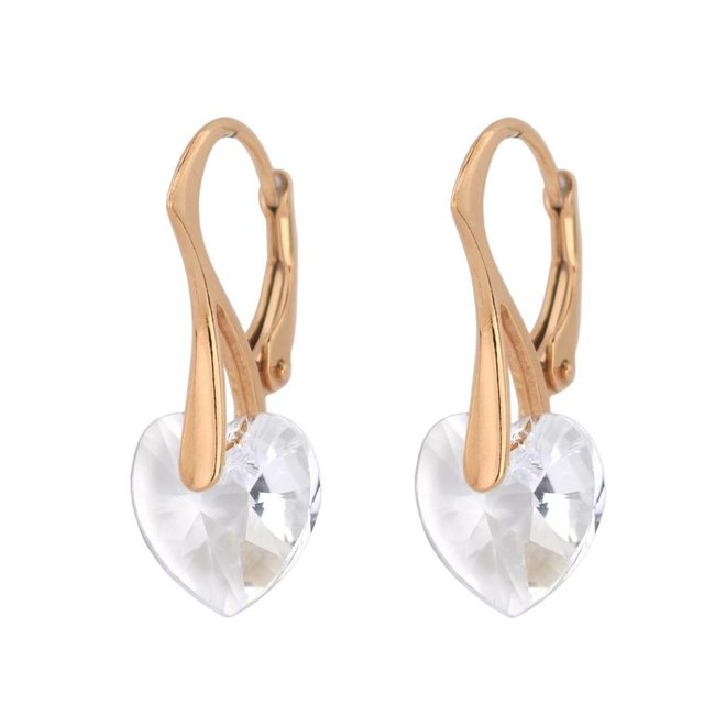Earrings crystal heart - silver rose gold plated - 0914