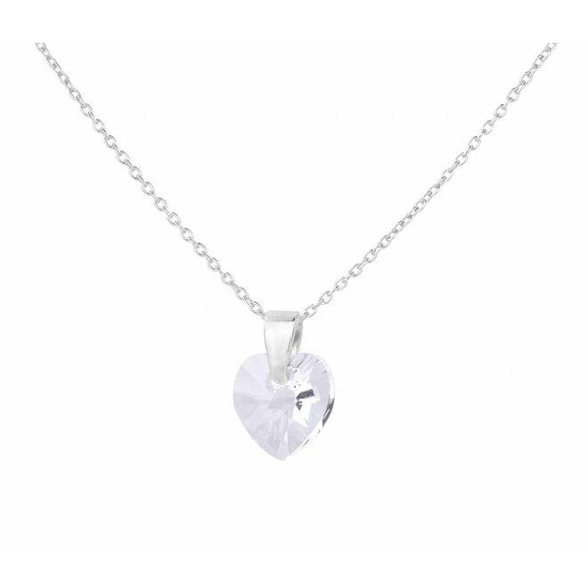 Necklace transparent Swarovski crystal heart - sterling silver - ARLIZI 0915 - Eva