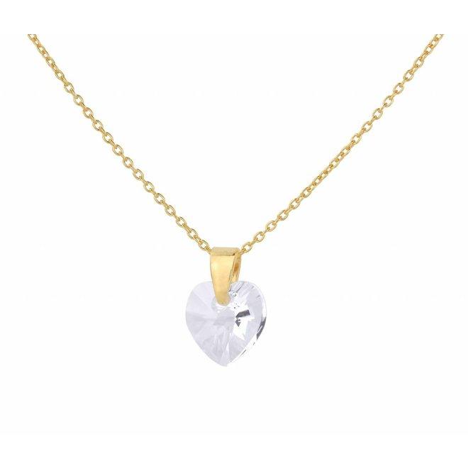 Ketting kristal hartje - verguld zilver - 0917