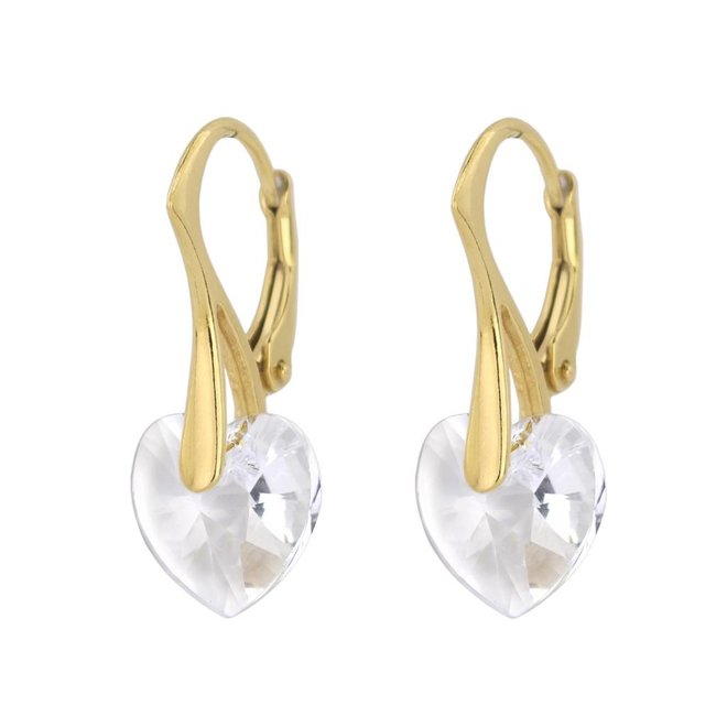 Earrings crystal heart - silver gold plated - 0918