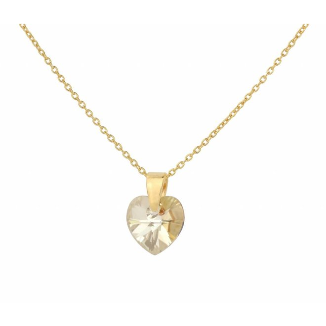 Necklace crystal heart - silver gold plated - 0921