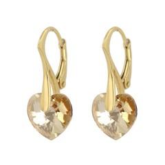 Oorbellen kristal hartje - verguld zilver - 0922