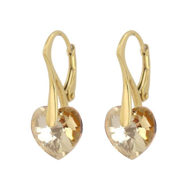 Earrings gold coloured Swarovski crystal heart - sterling silver gold plated - ARLIZI 0922 - Eva