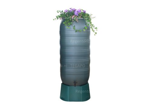 Regenton Flower Bowl 270 liter met groen onderstel