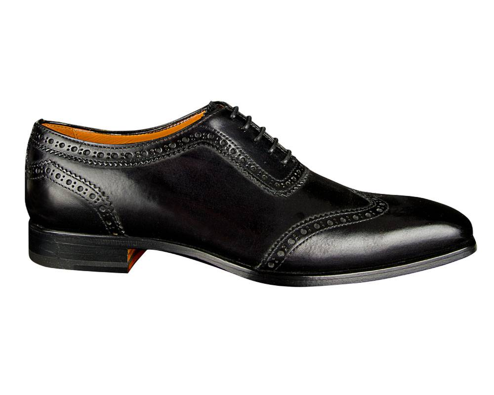 Black Oxford Lace Shoe With Wingtip Made In Italy