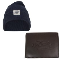 Montazinni Tokyo Laundry - Men's Giftbox - Wallet  and  Hat - Cobain - Navy Brown