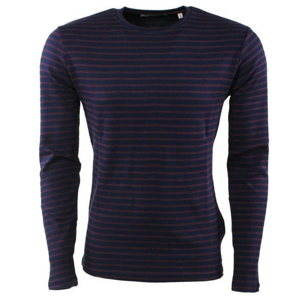 Earthbound - Men's Pullover - Striped - Round Neck - Fine Knitted - Slim Fit - Bordeaux Red