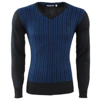 EarthBound - Men Pullover - V-Neck - Fine Knitted - Blue
