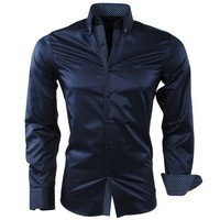 Montazinni Montazinni - Men Shirt - Dotted Collar - Striped - Wrinkle-Free and Non-Iron - Slim Fit - Navy