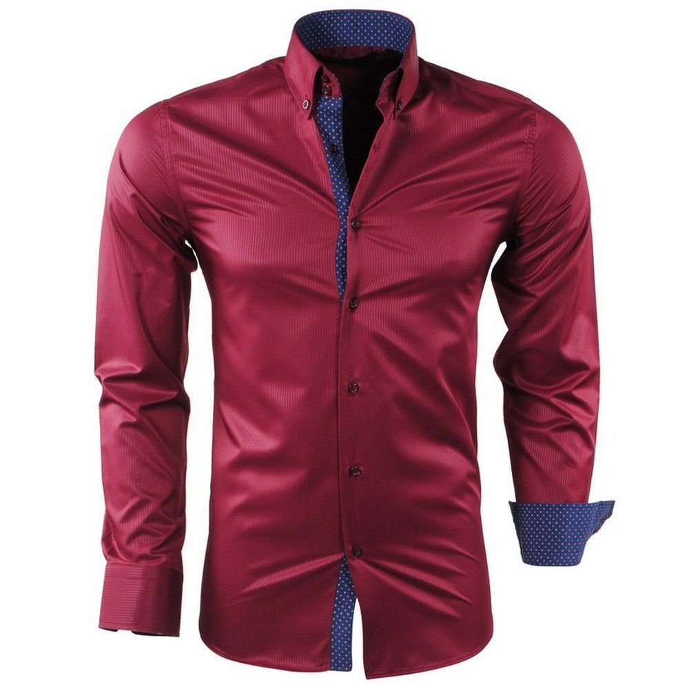 Montazinni Montazinni - Men Shirt - Dotted Collar - Striped - Wrinkle-Free and Non-Iron - Slim Fit - Bordeaux Red