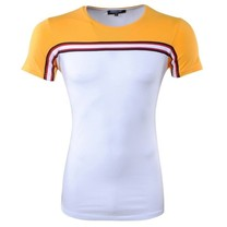 Carisma Carisma - Men T-Shirt - Round Neck - Slim Fit - White - Yellow
