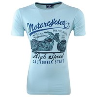 New Republic - Heren T-Shirt - Ronde Hals - California - Turquoise