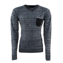 New Republic - Men's Pullover - Fine Knitted - V-Neck - Chest Pocket - Grey