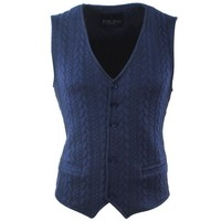 Ferlucci Ferlucci - Cable Knitted Men's Waistcoat - Stretch - Fausto - Navy
