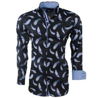 Montazinni Montazinni - Men's Shirt - Feathers - Stretch - Black