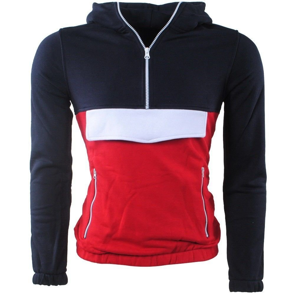 Biaggio - Men's Pullover - Sweat - Hooded - Navy - Red