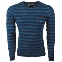 Earthbound - Men's Pullover - Striped - Round Neck - Fine Knitted - Blue - Black