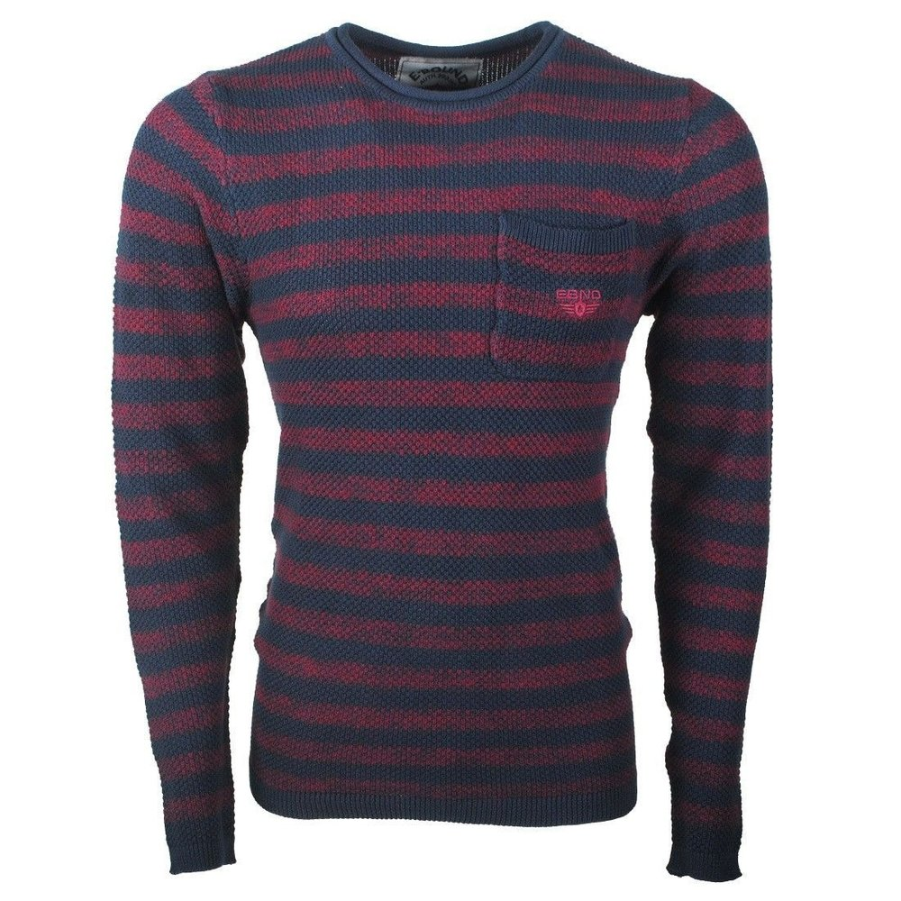 Earthbound - Men's Sweater - Striped - Round Neck - Fine Knitted- Navy - Red
