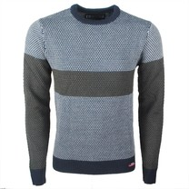Earthbound - Men's Sweater - Striped - Round Neck - Fine Knitted - Grey