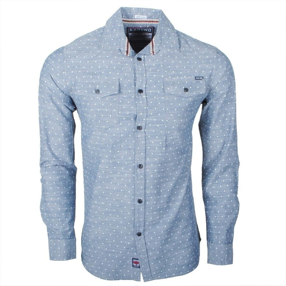 Earthbound - Men`s Shirt - 2 Chest pockets - Grey with dots