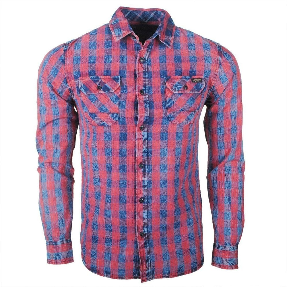 Earthbound - Men`s Shirt - 2 Chest pockets - Checkered - Blue Red