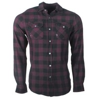 Earthbound - Men`s Shirt - 2 Chest pockets - Checkered -  Bordeaux Red