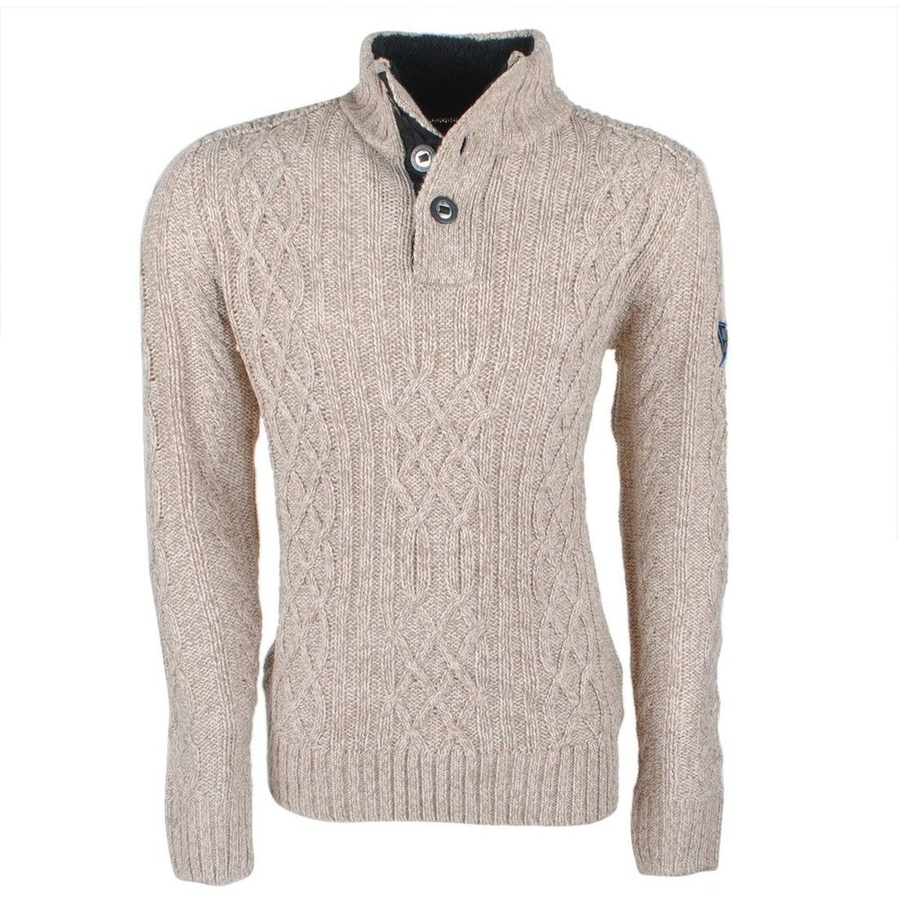 MZ72 MZ72 -  Men`s Cable Pullover - Heavy Knitted - Model Soground - Beige